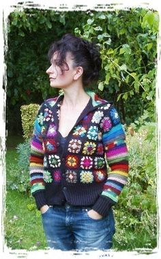 PDF Crochet Granny Jacket! I designed a Granny Square Jacket about 15 yrs. ago, wrote the pattern about 10 yrs. ago and recently revised it to include a hood and ribbed cuffs. You can add buttons or sew in a zipper. Make it with any worsted weight or sport weight yarn you choose, and a size I crochet hook. All the information you need, including gauge, is written in the pattern. I used Red Heart acrylic worsted weight for the black one (size M/L), and the plum jacket (size XL/2X). It could…