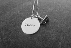 Hand Stamped Cheer Necklace with Megaphone Ready to Ship