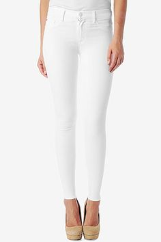 """Our Nico features a second skin silhouette, 30"""" inseam that hits just above the ankle, and a mid-rise to sit higher on the waist for comfortable fit. We love the Nico in white, featuring our 360° stretch fabric with maximum retention and recovery so that your jean doesn't lose its shape.   i want so and bc i love this fabric :( of course they're out"""
