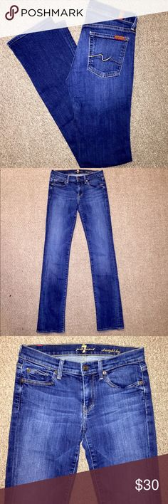 ❤️ 7 For All Mankind Straight Leg Jeans ❤️ 7 For All Mankind Straight Leg Dark Wash Women's Designer Jeans in size 27 with an inseam of 33. In super excellent condition and even more gorgeous in person! 😍😍 7 For All Mankind Jeans Straight Leg