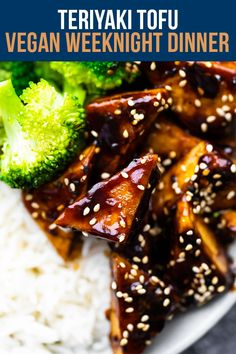 Sweet, tangy, and full of umami, this teriyaki tofu is a delicious vegan weeknight dinner option! Seared until golden, then smothered in an irresistibly sticky sauce, this tofu is hard to beat. Easily prep ahead of time then reheat for a quick dinner. #sweetpeasandsaffron #vegan #weeknightmeal Best Lunch Recipes, Tofu Recipes, Dairy Free Recipes, Amazing Recipes, Cooking Tofu, Cooking Wine, Meal Prep Containers, Meal Prep Bowls, Teriyaki Tofu