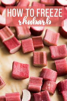 How to freeze rhubarb- a step by step tutorial with photos to show you exactly how to freeze rhubarb so you can enjoy it all year round! Frozen Rhubarb. #sweetpeasandsaffron #mealprep #freezer #howto #rhubarb Frozen Rhubarb Recipes, Rhubarb Desserts, Fruit Recipes, Just Desserts, Healthy Rhubarb Recipes, Recipies, Ruhbarb Recipes, Strawberry Rhubarb Recipes, Strawberry Rhubarb Crisp