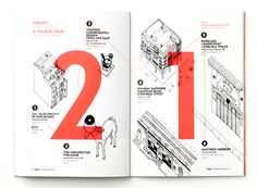 Zero Fuorisalone is a guide to the city events during Milan's Design Week - page 21 in red and white shows a tour for saturday | typography / graphic design: Elsa Jenna |
