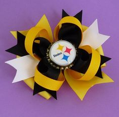 Pittsburgh Steelers Football Custom Bottle Cap Boutique Bow in Black and Yellow. $7.50, via Etsy.