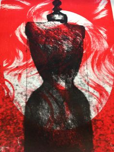 On this screenprint, i really like the contrast between the red, white and black. I think the colours work really well together. I feel the meaning behind this print has changed, as the background is of a wig, and the foreground been a figure, representing more human form in an abstract way.