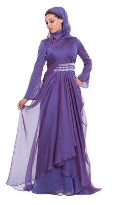 Beautiful Michel Purple Silk Chiffon Islamic Formal Long Dress with Hijab | at Artizara.com