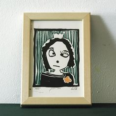 Items similar to Linocut print girl friend princess on Etsy Linocut Prints, All Pictures, Small Gifts, Etsy, Princess, Frame, Handmade, Color, Art