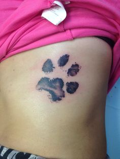 Maggys paw print. I only wish she was still here to see it ❤️ Not only will she forever be in my heart but also by my side. #Memorialpettattoo #Actualpawprinttattoo