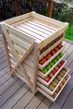 10 produce storage ideas for kitchen. Buildable projects.