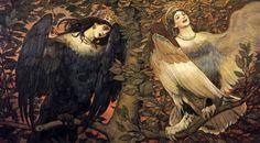 "Viktor Vasnetsov painted many subjects from folklore. ""Sirin i Alkonost, Ptitsy Radosti i Pechali"" (""Sirin and Alkonost, Birds of Joy and Sorrow"") depicts the Russian version of the Siren alongside an anthropomorphized kingfisher."