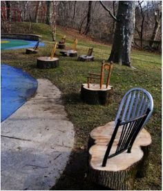 The most clever idea for tree stumps! Thanks to Smith Playhouse, Philadelphia.