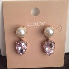 J. Crew Pearl Drop Earrings Beautiful new j crew Pearl drop earrings with pink stone J. Crew Jewelry Earrings