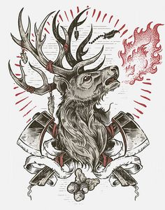 Burning Stag by Derrick Castle