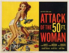 "Attack of the 50 Foot Woman 11x14 Movie Poster (1958). CAST: Allison Hayes, William (Bill) Hudson, Roy Gordon, Yvette Vickers, George Douglas, Ken Terrell, Michael Ross, Frank Chase, Eileen Stevens, Otto Waldis; DIRECTED BY: Nathan (Hertz) Juran; PRODUCER: Allied Artists;  Features:    11"" x 14""   Packaged with care - ships in sturdy reinforced packing material   Made in the USA  SHIPS IN 1-3 DAYS"