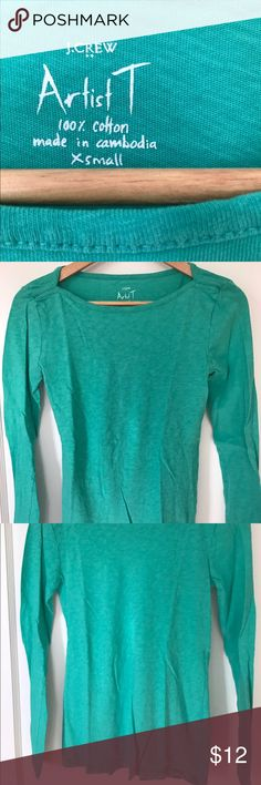 J.Crew Artist T - xsmall Women's size xsmall, 100% cotton, teal color, great condition. Worn once or twice. J. Crew Tops Tees - Long Sleeve