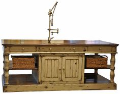 Farmhouse Kitchen Island. 90″w x 42″d x 36″h. Shown in hotsprings stone base with grooved cypress top and heavily distressed painted finish. Also available with solid walnut, cherry, oak, and alder top.