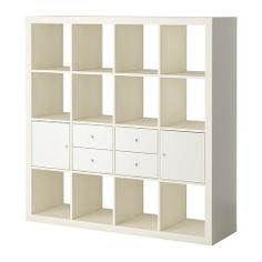 As the bottom part of a high bookcase. EXPEDIT Storage combination w doors/drawers IKEA