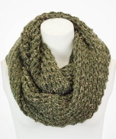Olive Texture-Knit Infinity Scarf by Leto Collection #zulily #zulilyfinds