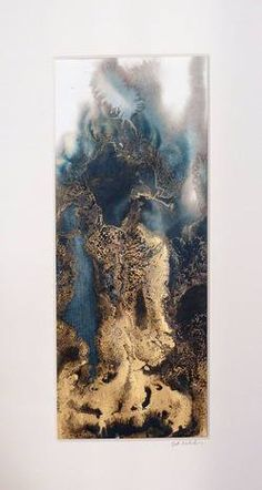 Flying High collection by Beth Nicholas. Her gorgeous paintings remind me of looking down on earth with a marble view. Dark tones mixed with metallic golds.