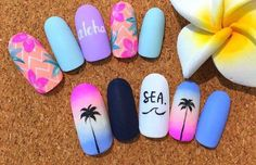 Nail art Christmas - the festive spirit on the nails. Over 70 creative ideas and tutorials - My Nails Cute Nails, Pretty Nails, Aloha Nails, Hawaii Nails, Faux Ongles Gel, Flamingo Nails, Sea Nails, Bright Summer Nails, Nagellack Trends