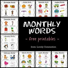 FREE monthly vocabulary words to put in your preschool or kindergarten writing center! Kindergarten Writing, Kindergarten Literacy, Teaching Writing, Writing Activities, Writing Ideas, Writing Station, Writing Centers, Writing Center Preschool, 1st Grade Writing