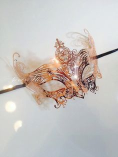One of a Kind Rose Gold Jewelry - Laser Cut Venetian Masquerade Mask w/ Sparkling Rhinestones - Customized Exclusively by 4everstore by 4everstore on Etsy