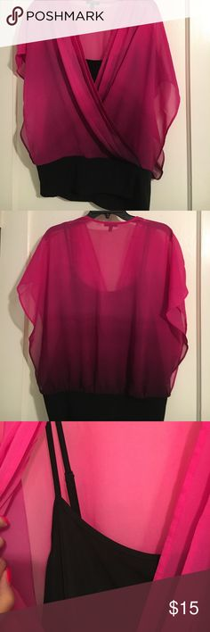 Apt. 9 pink ombré blouse Flowy Magenta pink ombré blouse. Blouse has built in cami that has adjustable straps. Band at the bottom of the blouse is slightly stretchy. Apt. 9 Tops Blouses