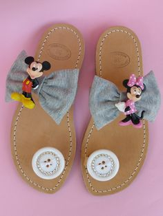 Handmade leather sandals with cartoons, big knots, buttons covered with swarovski flat back and French ribbons.