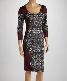 Take a look at this Black & Eggplant Brocade Shift Dress by Bailey Blue on #zulily today! Ts company has real nice work wear.