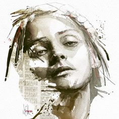 Mixed Media Portraits by Florian Nicolle watercolor portraits illustration