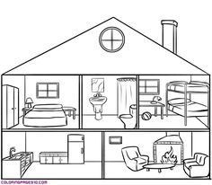 29 trendy house sketch coloring pages House Sketch, House Drawing, House Colouring Pages, Coloring Pages, English Activities, Preschool Activities, Teaching Spanish, Teaching English, Teaching Materials
