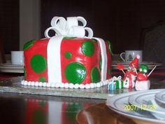 Red and Green Polka Dot Christmas Present Fondant Cake.