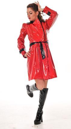 Red Raincoat, Vinyl Raincoat, Raincoat Jacket, Plastic Raincoat, 70s Fashion, Fashion Outfits, Imper Pvc, Vinyl Clothing, Latex Girls