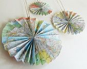 """Pacific Ocean Floor """"Popcorn"""" Garland - Upcycled From a Vintage Map. $22.00, via Etsy."""