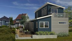 Architecture: Amazing Small Prefab Houses For Living, Blue grey eco-friendly prefab homes with marvelous terrace