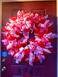 xl valentines day deco mesh wreath by thespottedbeagle on etsy 14500