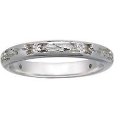 18K White Gold Flower Bud Ring, top view