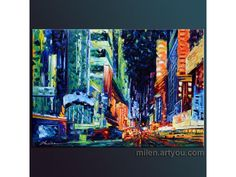 """""""All Night Long"""" original oil on canvas painted by hand textured painting for sale modern contemporary urban city Textured Painting, Urban City, Cityscapes, Paintings For Sale, Modern Contemporary, Oil On Canvas, My Photos, Photographs, Night"""