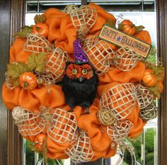 This natural and rustic burlap Halloween wreath is made with orange burlap and is accented with burlap ribbon, pumpkins and a wise 'ol owl wishing your guests Happy Halloween! It is made on a rustic wire frame and measures in diameter. Owl Wreaths, Wreath Crafts, Deco Mesh Wreaths, Diy Wreath, Holiday Wreaths, Burlap Wreath, Wreath Ideas, Wreath Making, Burlap Ribbon