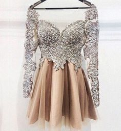 Luxurious Short Cocktail/Prom/Homecoming Dress - Champagne Long Sleeves with Beaded,Short prom dress,Beading dress