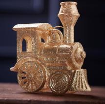 Gold Glitter Train Decoration