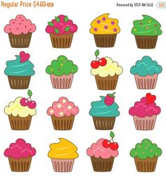 BLACK FRIDAY SALE Cupcakes Clip Art Clipart by PinkPueblo on Etsy