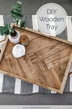 DIY Wooden Herringbone Tray - DIY Home Decor Make this beautiful herringbone serving tray for yourself or as an incredible gift. This step-by-step tutorial will walk you through exactly how to create a wooden tray! Diy Wooden Projects, Diy Furniture Projects, Wooden Diy, Furniture Plans, Furniture Design, Garden Furniture, Unique Furniture, City Furniture, Furniture Makeover