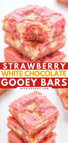 An easy sweet treat! 5 ingredients are all you need for these cake mix brownies. With a soft and chewy strawberry base and white chocolate chips, these gooey bars are a winning summer dessert recipe! Summer Dessert Recipes, Delicious Desserts, Yummy Food, Desserts Diy, Desert Recipes, Yummy Treats, Sweet Treats, Cake Mix Brownies, Cake Mix Bars