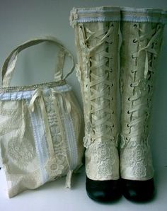 """""""Luxury Spats"""" by Maide. Site: http://de.dawanda.com/shop/maide. Maide has been creating her unique spats and gaiters for nearly a decade. """"Nostalgia is one main theme of my work which I can not deny, obviously."""" Inspired by Victorian and Edwardian textiles as well as the paintings of Mucha, Klimt, and Carl Larsson, her accessories integrate exquisite samples of early 20th century lace, trim, and appliqué. Each design is a meticulously handcrafted piece of wearable art."""