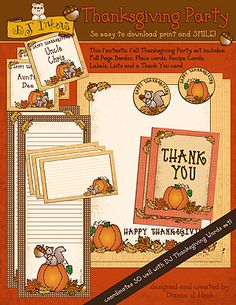 If you're hosting dinner this year, DJ's 'Thanksgiving Party' download will be just the thing to help you add a special smile to the event. This fantastic fall party kit includes: a festive full page border, a page of dinner place cards, a page of recipe cards, a helpful list border (for shopping, to do lists, or as a thankful list activity), ...