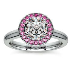 Halo Pink Sapphire Gemstone Engagement Ring in White Gold  | Image 01