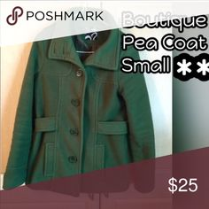 Boutique Staccato Green Pea Coat Small Boutique Green Pea Coat Small, VGUC, Coat Does Have Piling From Normal Wear, From Smoke & Pet Free Home, No Rips Or Stains ✨OFFERS WELCOME USING THE OFFER BUTTON✨ Staccato Jackets & Coats
