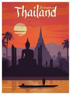 Pan Am Vintage Travel Poster, Thailand.