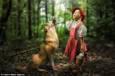 Sensitive little Rotkappchen: John Wilhelm has photoshopped his daughters into scenes from the likes of Little Red Riding Hood to create a more interesting family album